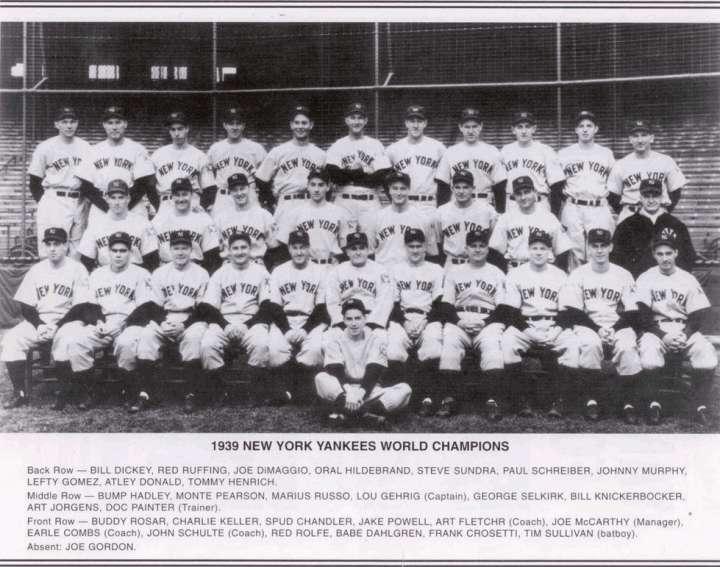 1939 New York Yankees World Champion baseball team