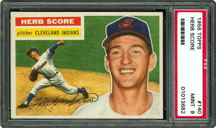 1956 Topps baseball card of Cleveland Indians pitcher Herb Score