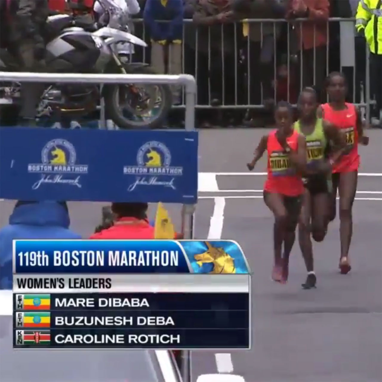 2015 Boston Marathon top three women: Caroline Rotich, Mare Dibaba and Buzunesh Deba