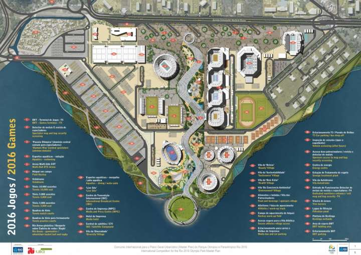 2016 Rio Olympic Park master plan showing various competition venues.