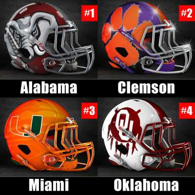 2017 College Football Playoff rankings for week 12: 1) Alabama, 2) Clemson, 3) Miami, 4) Oklahoma