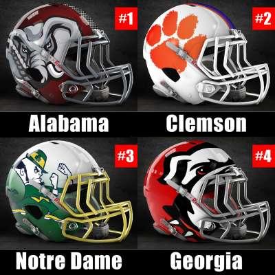 2018 CFP Rankings Week 14: Alabama, Clemson, Notre Dame, Georgia