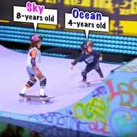 8-year-old Sky and her 4-year-old brother Ocean skateboard on 'Little Big Shots'