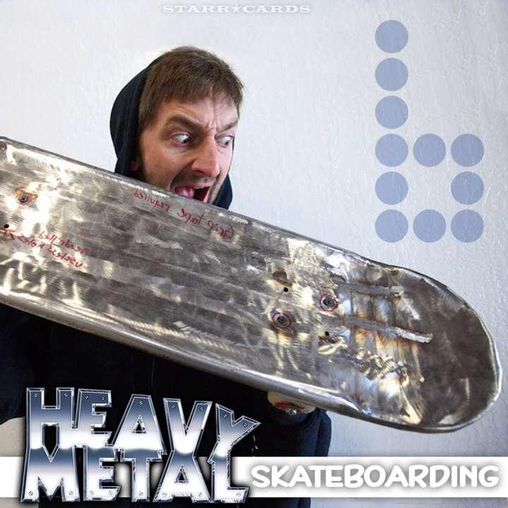 Aaron Kyro of Braille Skateboarding reacts to his metal skateboard