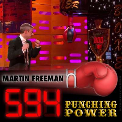 Actor Martin Freeman scores 594 on arcade boxing machine on 'The Graham Norton Show'