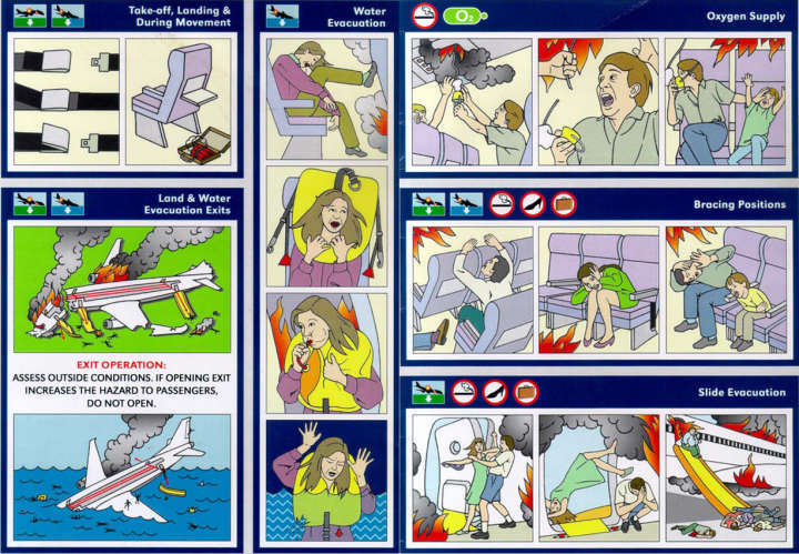 Airline in-flight safety card parody