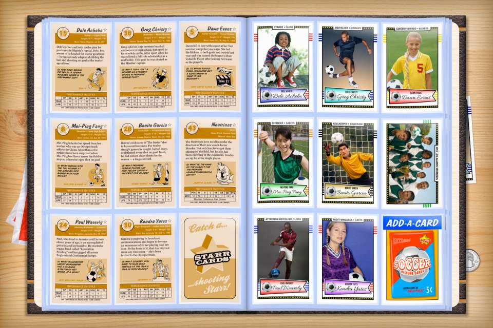 Make your own custom soccer cards with Starr Cards.