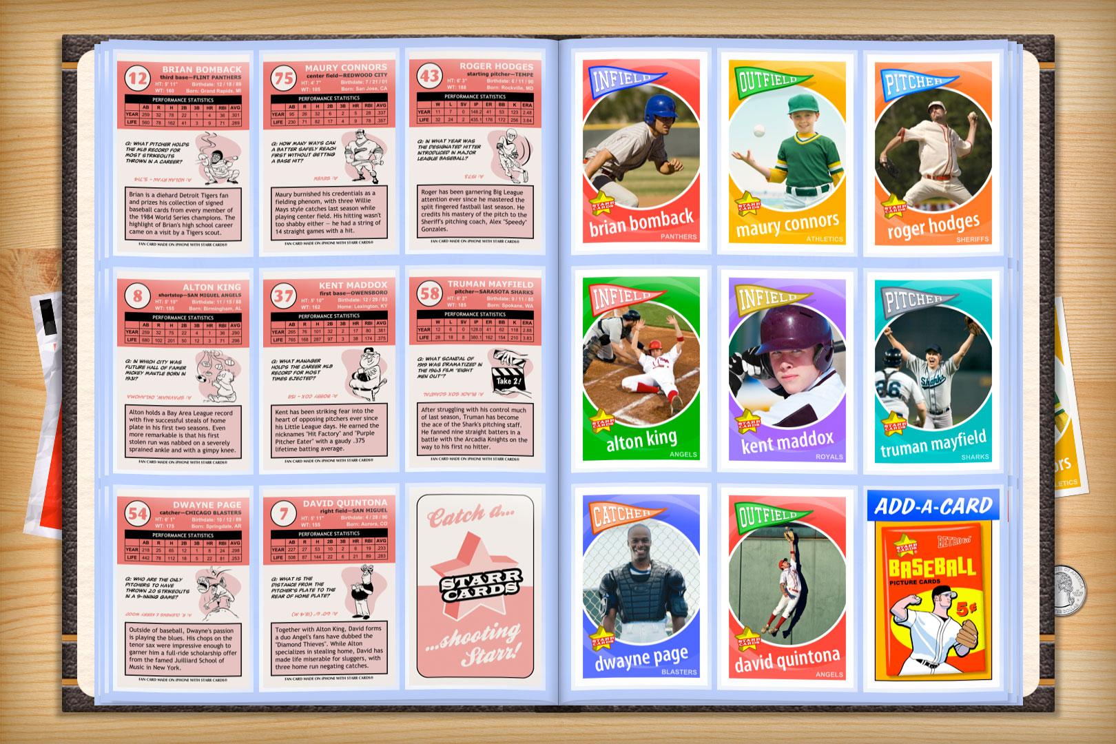 Baseball Card Template   Custom Baseball Cards Retro 60 Series Starr Cards