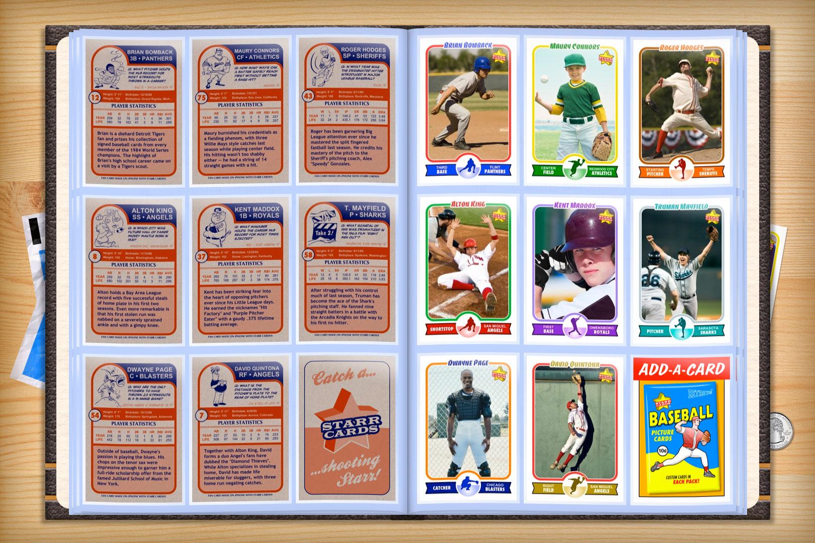 Custom Baseball Cards Retro 75 Series Starr Cards