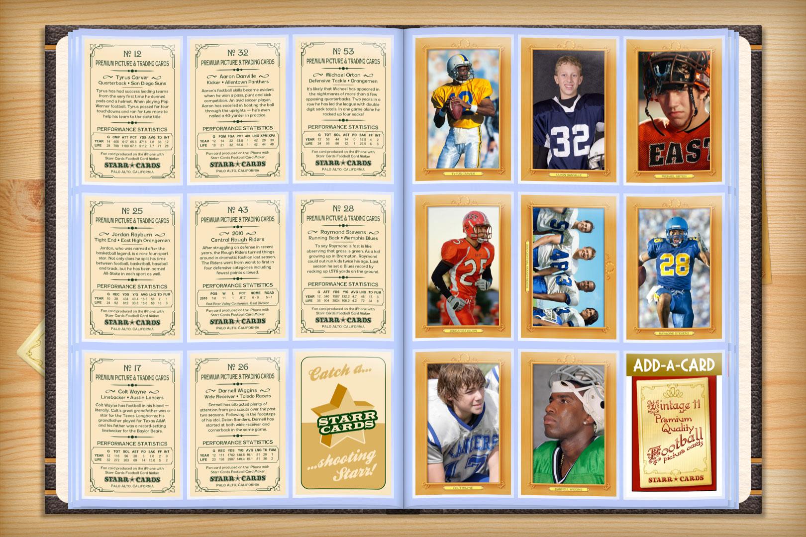 custom football cards vintage 11 series starr cards