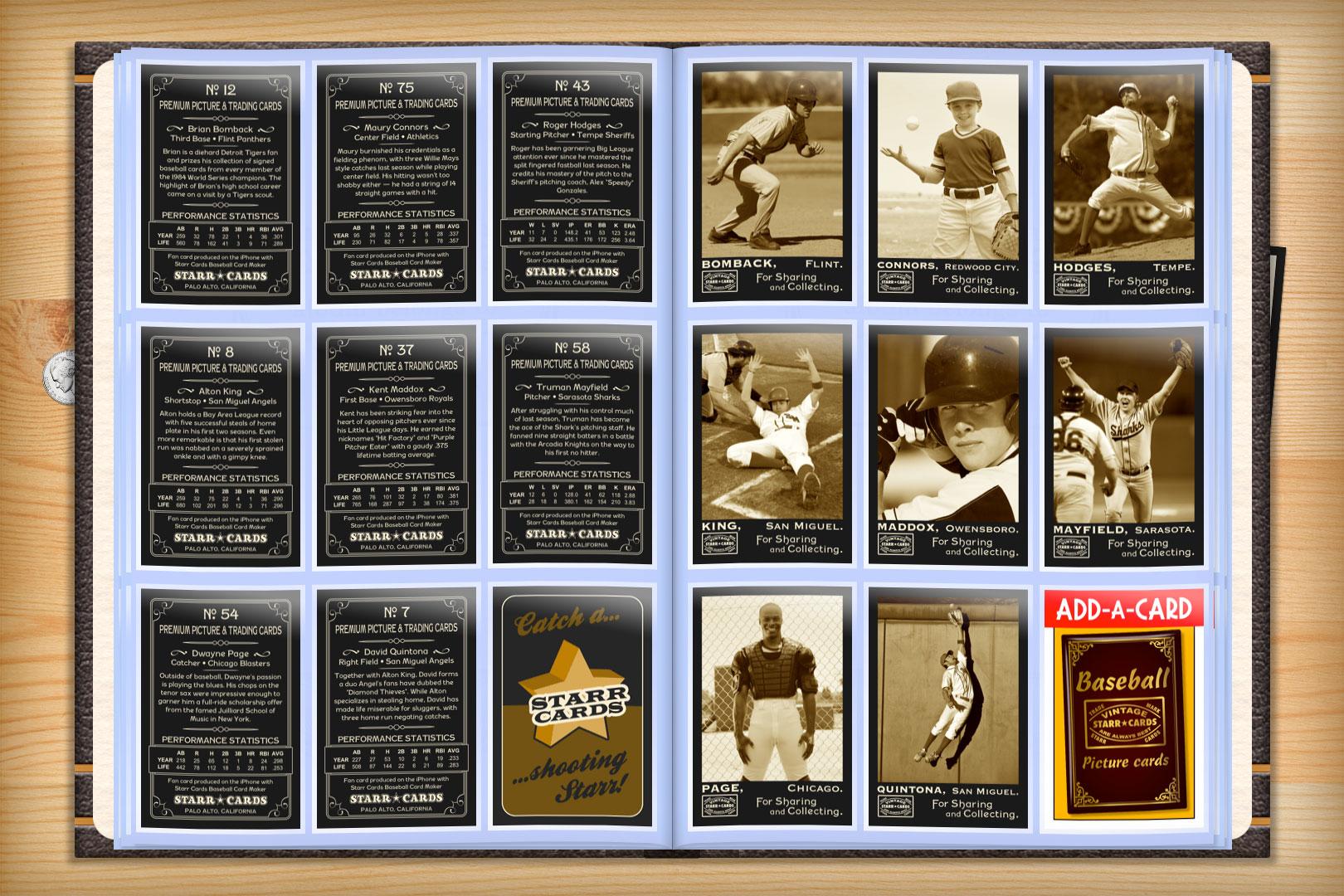 Custom Baseball Cards Vintage 95 Series Starr Cards
