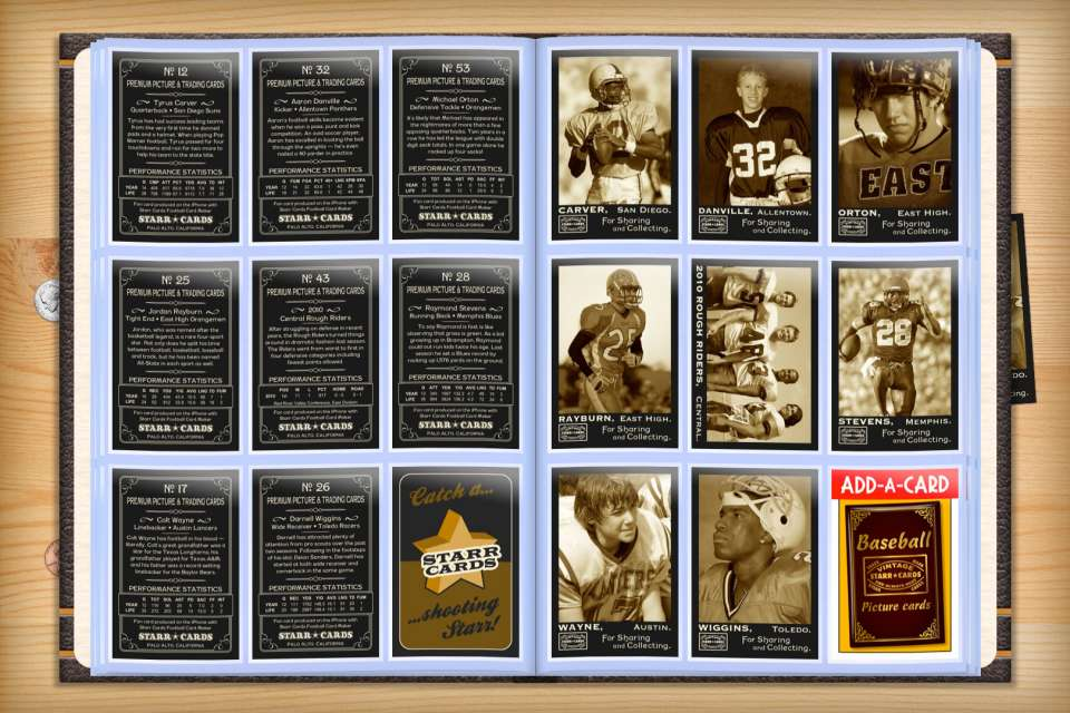 Make your own custom football cards with Starr Cards.