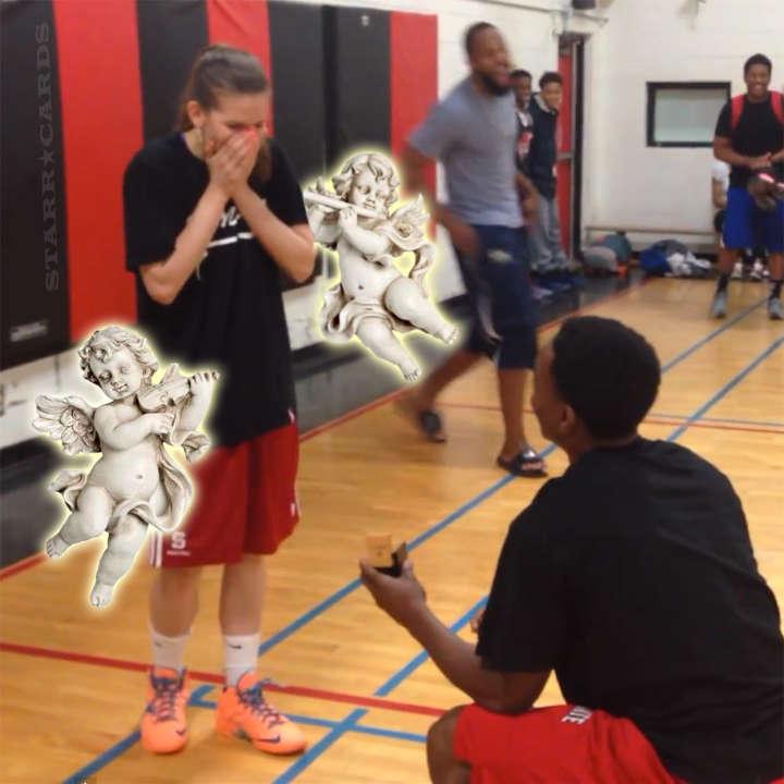 Alex Johnson proposes to Brey Dorsett during basketball game