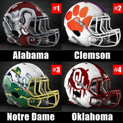 Alternative football helmets for final 2018 CFB Playoff rankings