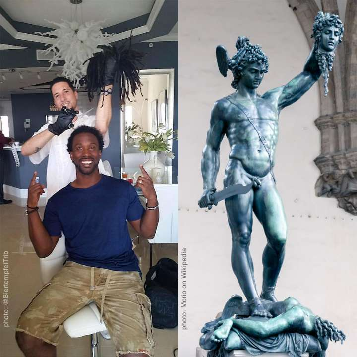 Andrew McCutchen hair cut calls to mind Perseus' decapitation of Medussa