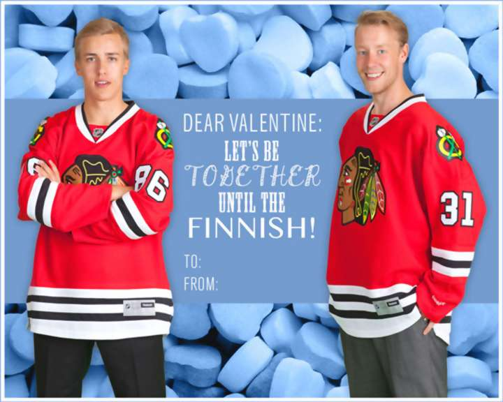 Antti Raanta and Teuvo Teravainen Valentine's Day card