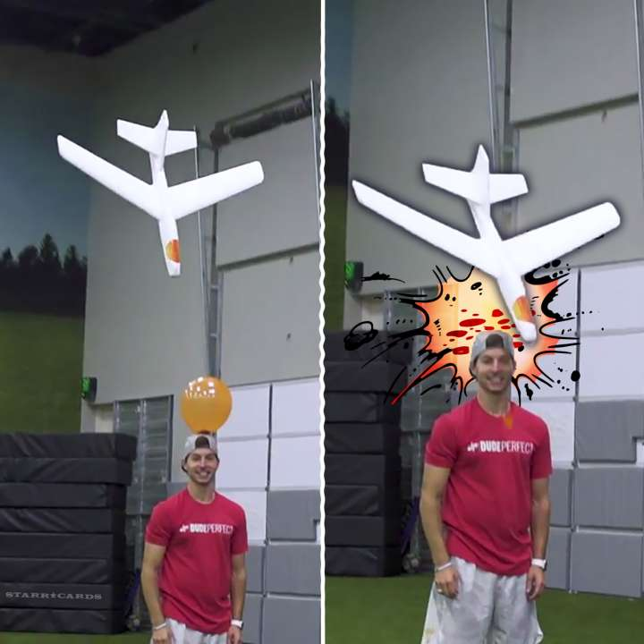 Balloon is popped as one of Dude Perfect's twins nails his glider trick shot