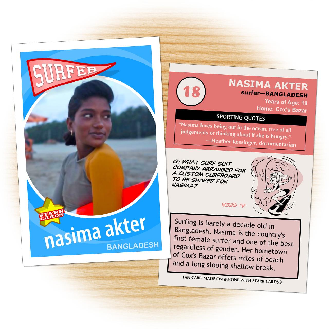 Bangladeshi surfer girl Nasima Akter