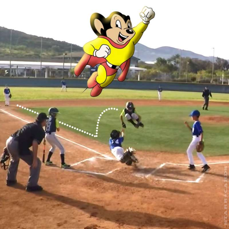Base runner Mighty Mouse leaps catcher to score a run
