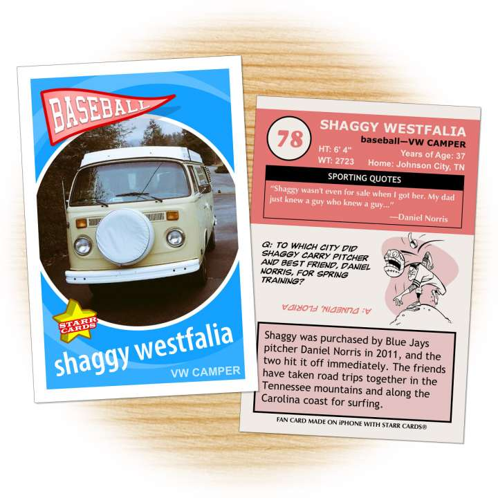 Baseball Card for Shaggy Westfalia: Blue Jay pitcher Daniel Norris' beloved VW camper.