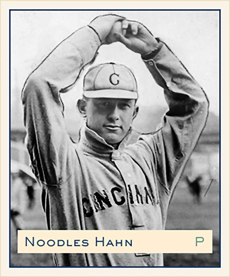 Baseball card of Cincinnati Reds pitcher Noodles Hahn