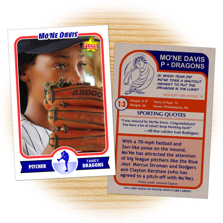 Baseball card of Mo'ne Davis made by a fan from Philly