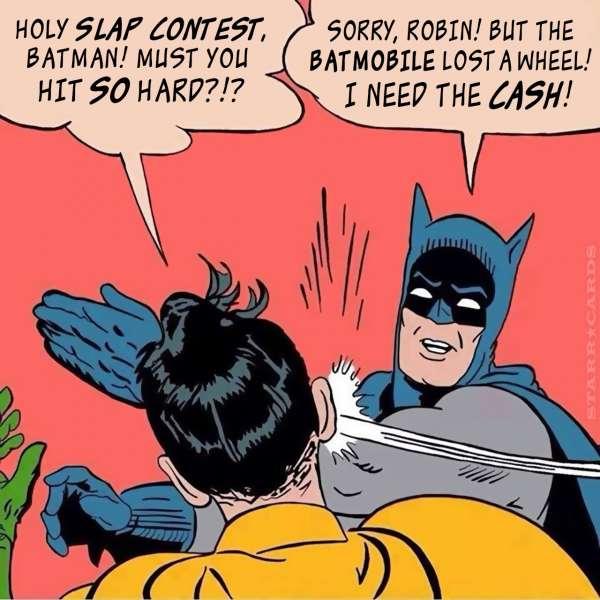Batman slaps Robin across the cheek to win prize at slap contest