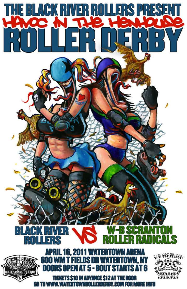 Black River Rollers roller derby poster