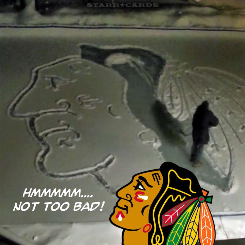 Blackhawks logo made in snow