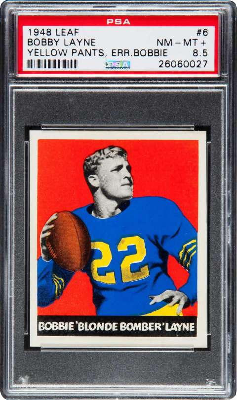 Bobby Layne, 1948 Leaf football card