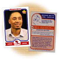 Bowling card of Red Sox outfielder Mookie Betts
