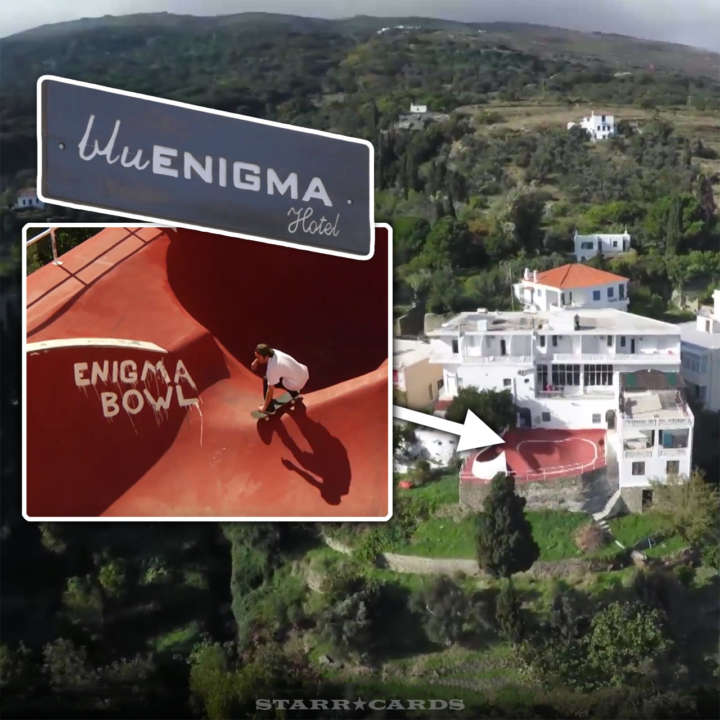 Brad McClain skates the bowl at the Blu Enigma Hotel in Greece