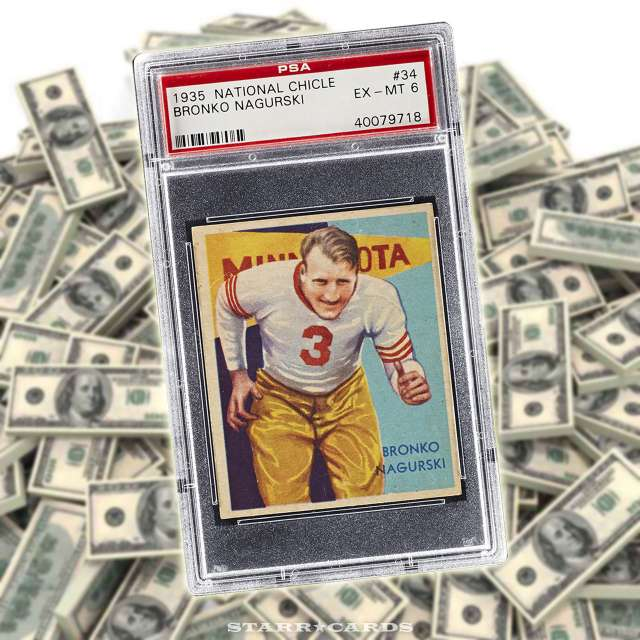 Bronko Nagurski 1935 National Chicle leads top ten most valuable football cards