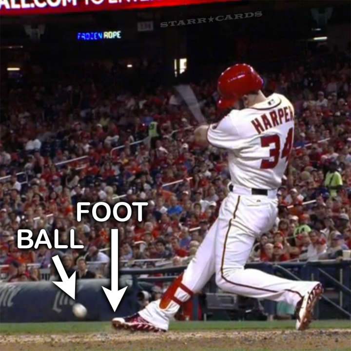 Bryce Harper pretends to have ball fouled off his foot