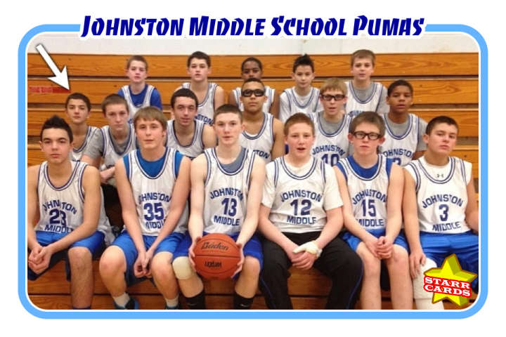 Cam Pizzo and the Johnston Middle School Pumas basketball team