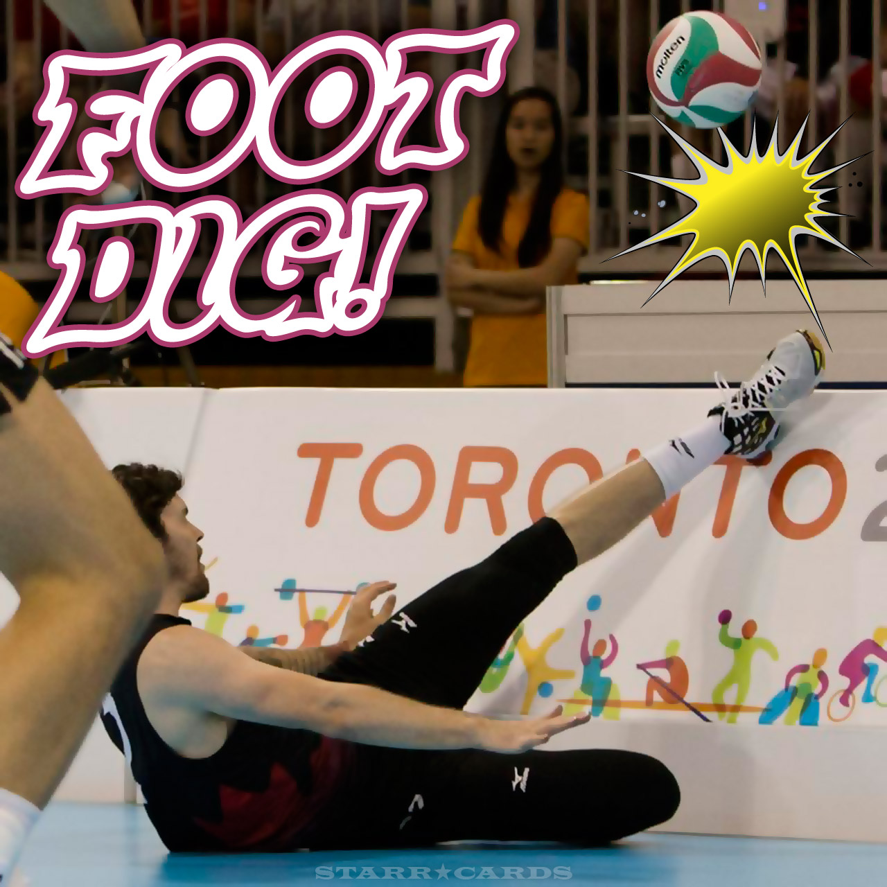 Canada's Steve Marshall executes volleyball kick dig versus Mexico