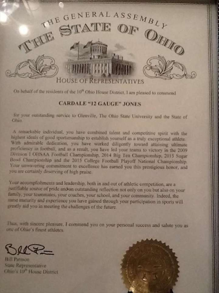 Cardale Jones' commendation from The State of Ohio General Assembly