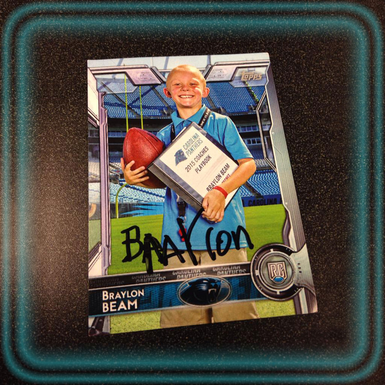 Carolina Panther honorary coach Braylon Beam got his own Topps football card