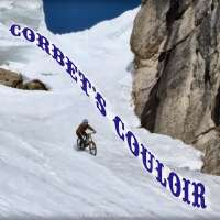 Casey Brown rides her mountain bike down Corbet's Couloir