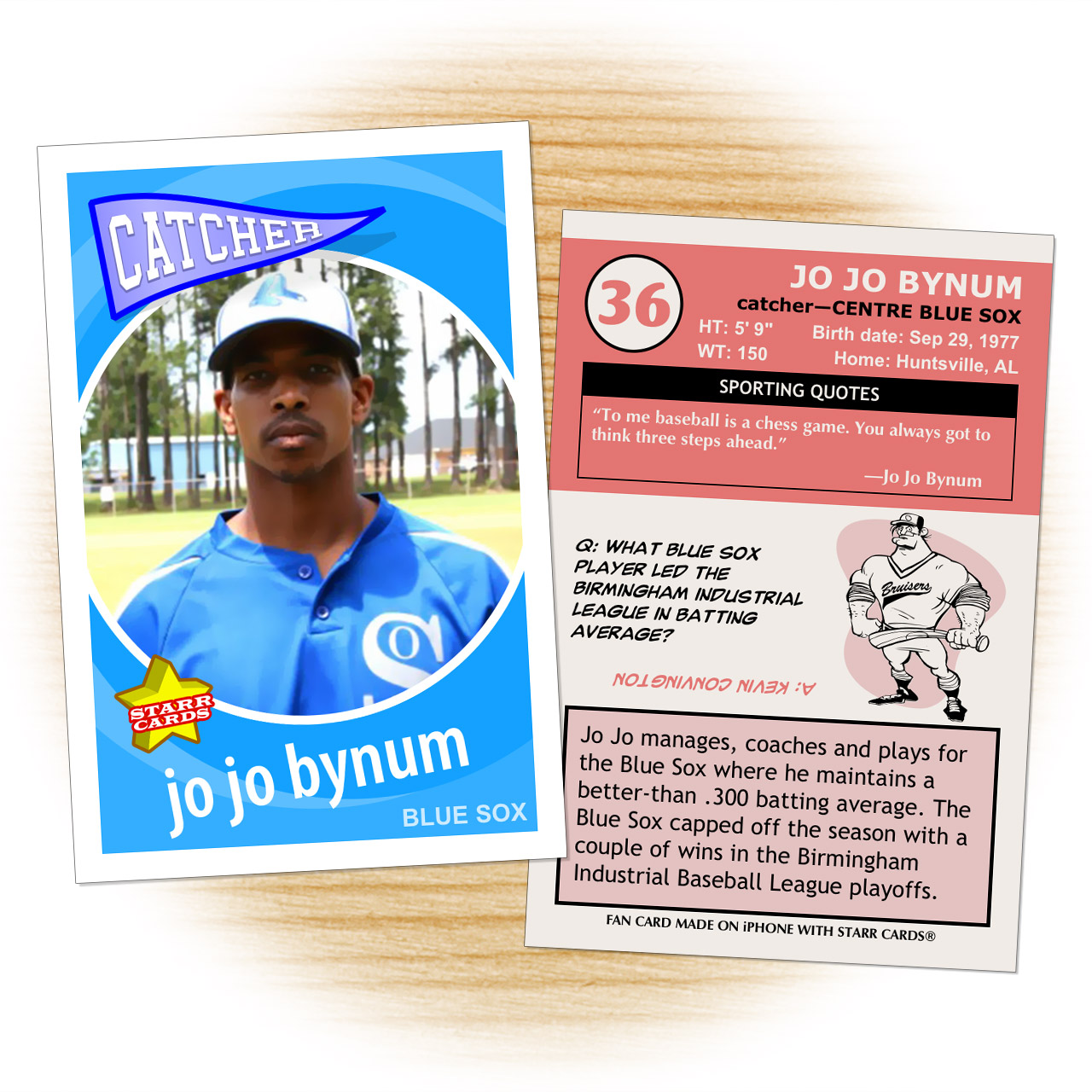 Centre Blue Sox baseball player Jo Jo Bynum