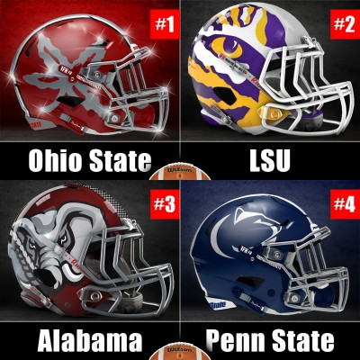 CFB Playoff week 11 rankings with alternative helmets for Ohio State, LSU, Bama and PSU