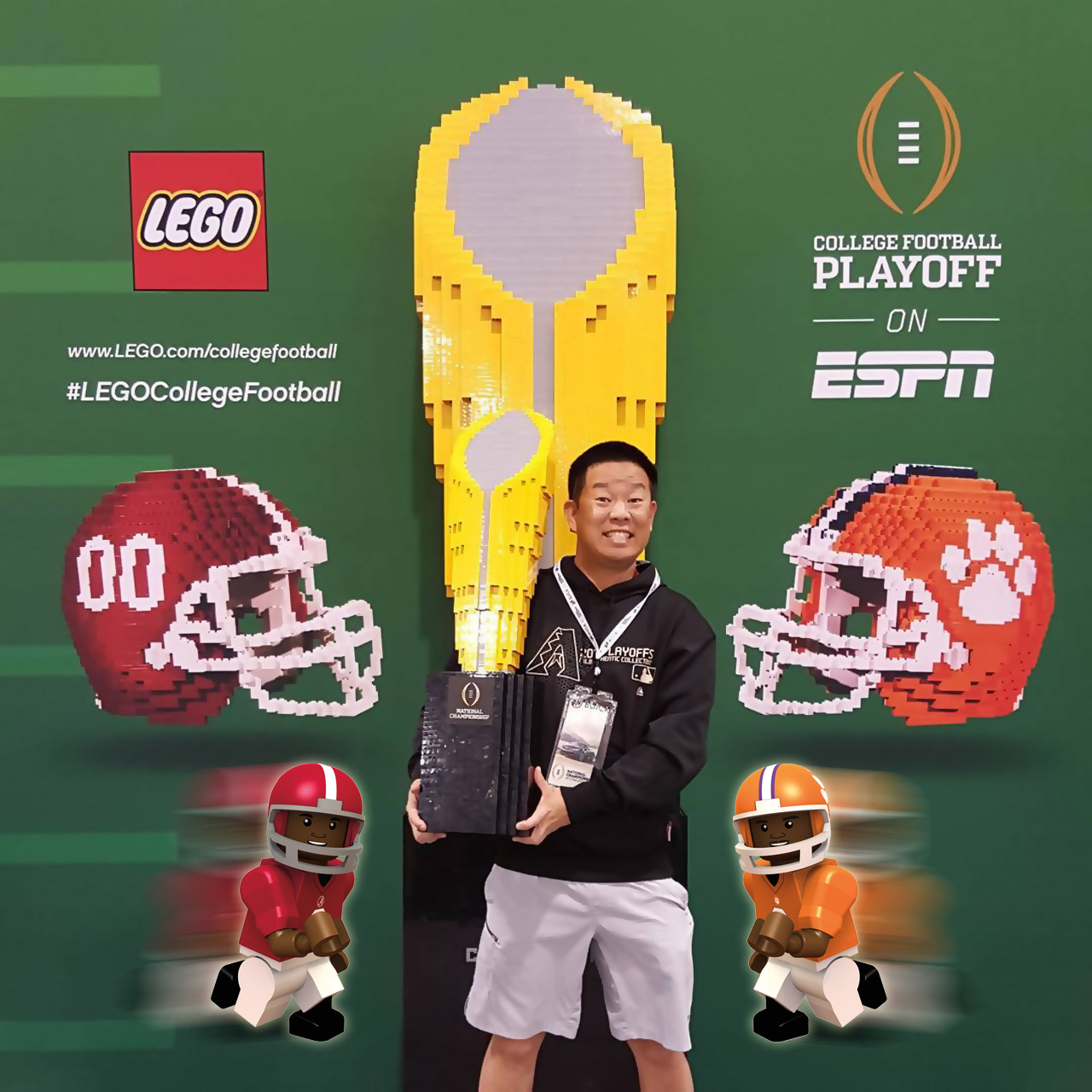 CFP National Championship trophy made of LEGO bricks