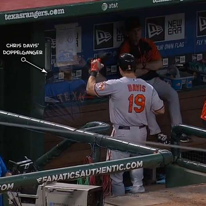 Chris Davis greeted by ghostly Chris Davis in dugout.