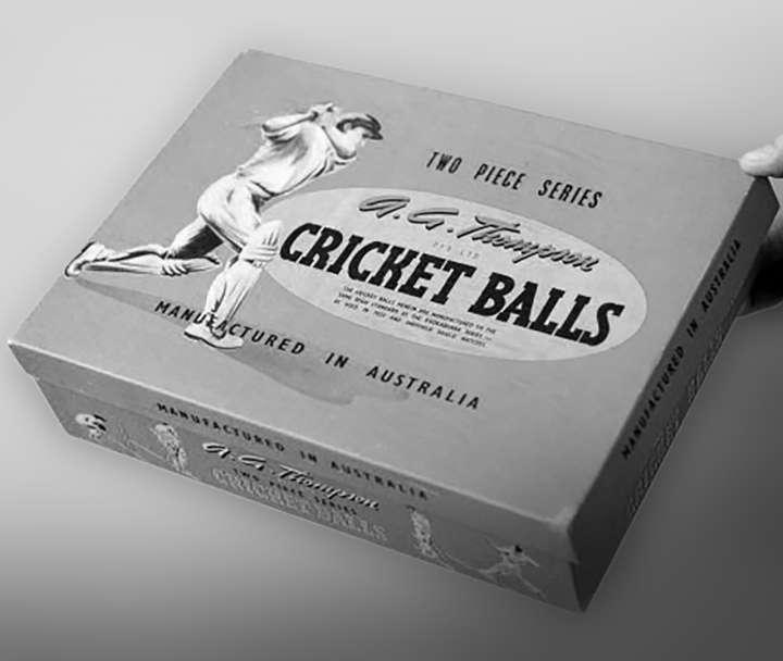 Classic AG Thompson cricket balls box