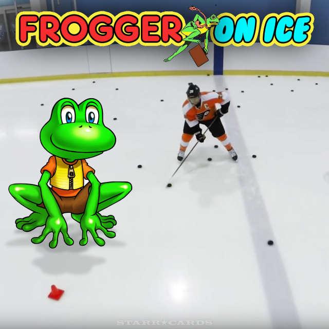 Claude Giroux plays Frogger on Ice