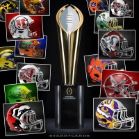 College Football Playoff rankings illustrated with alternate football helmet designs