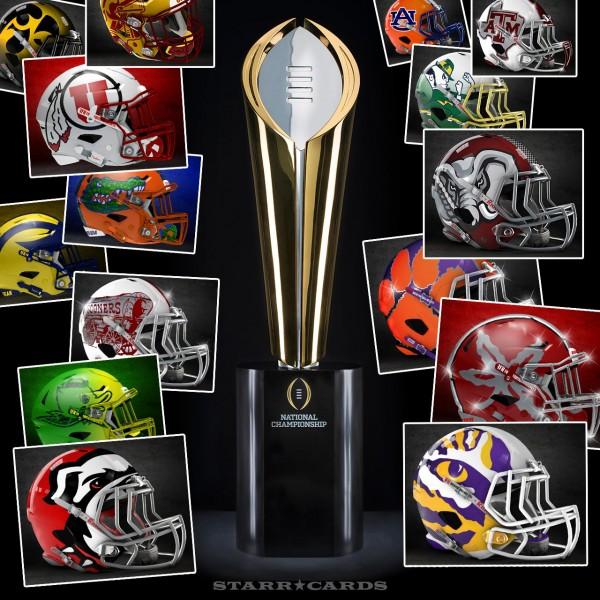 College Football Playoff rankings illustrated with alternate football helmet designs