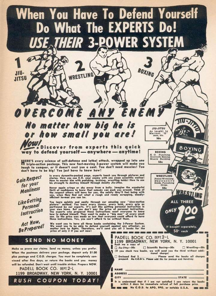 Comic book ad for 3-power self-defense system featuring jiu jitsu, boxing, wrestling