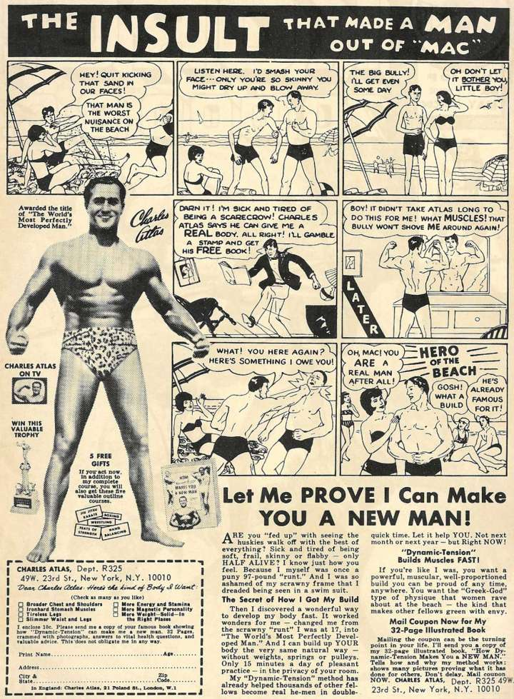 "Comic book ad for Charles Atlas' ""Dynamic Tension"" system"