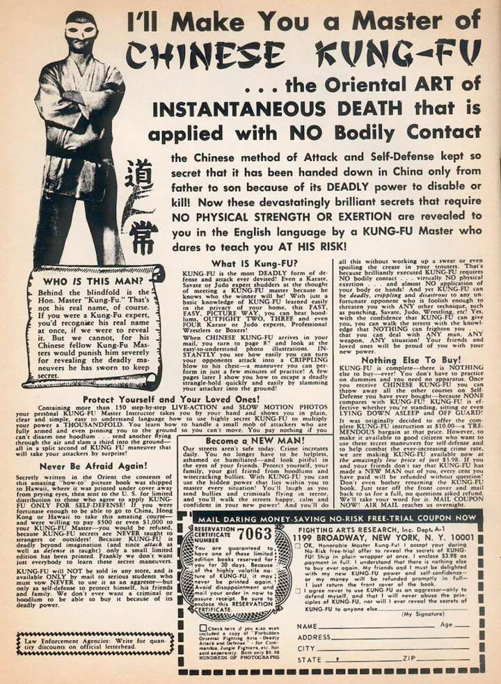 Comic book ad for Chinese Kung-Fu: the Oriental Art of Instantaneous Death